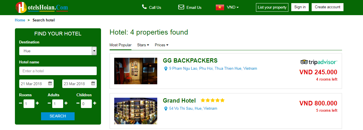 Search results on hotelshoian.com